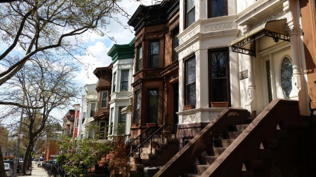 Brownstones in my old neighborhood of Sunset Park, Brooklyn. How has the brownstone come to represent a certain urban lifestyle? And who has access to it?